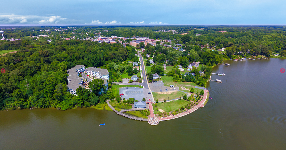Harbor aerial view of Leonardtown, Maryland