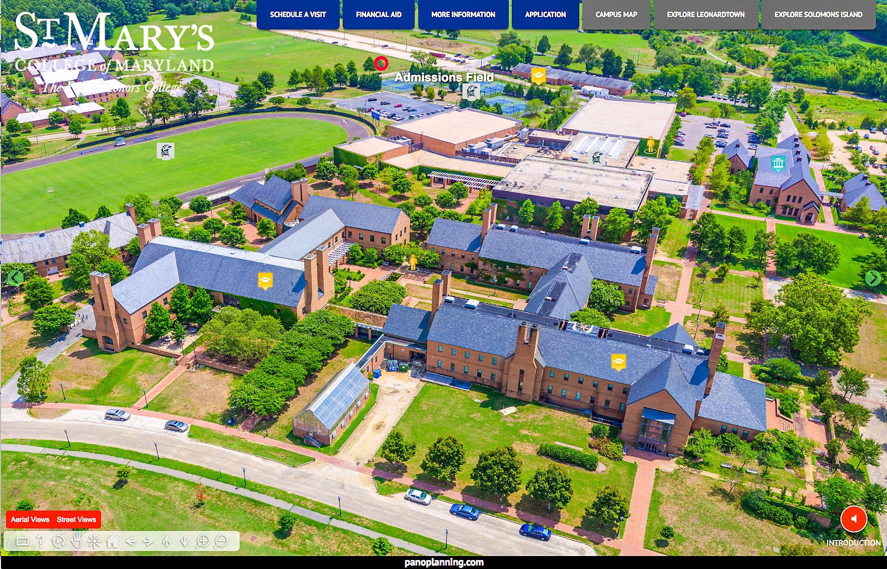 Aerial view of Mid-Campus, St. Mary's College.