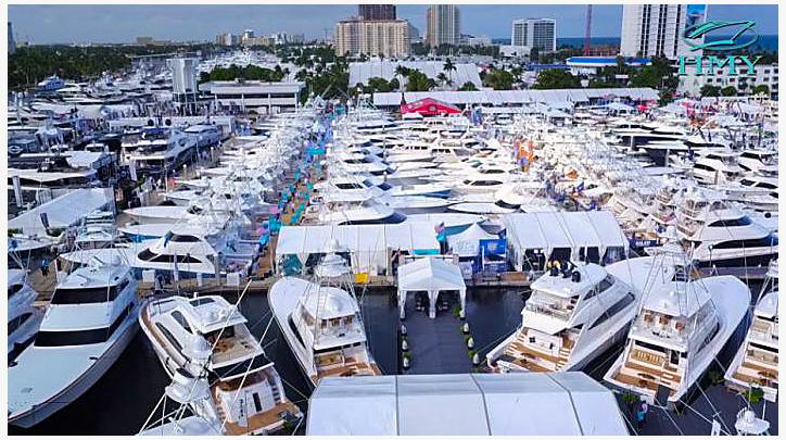 Boat Show. Boats jammed into marina.