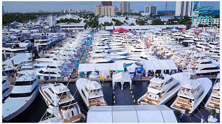 Boat show, boats packed into marina.