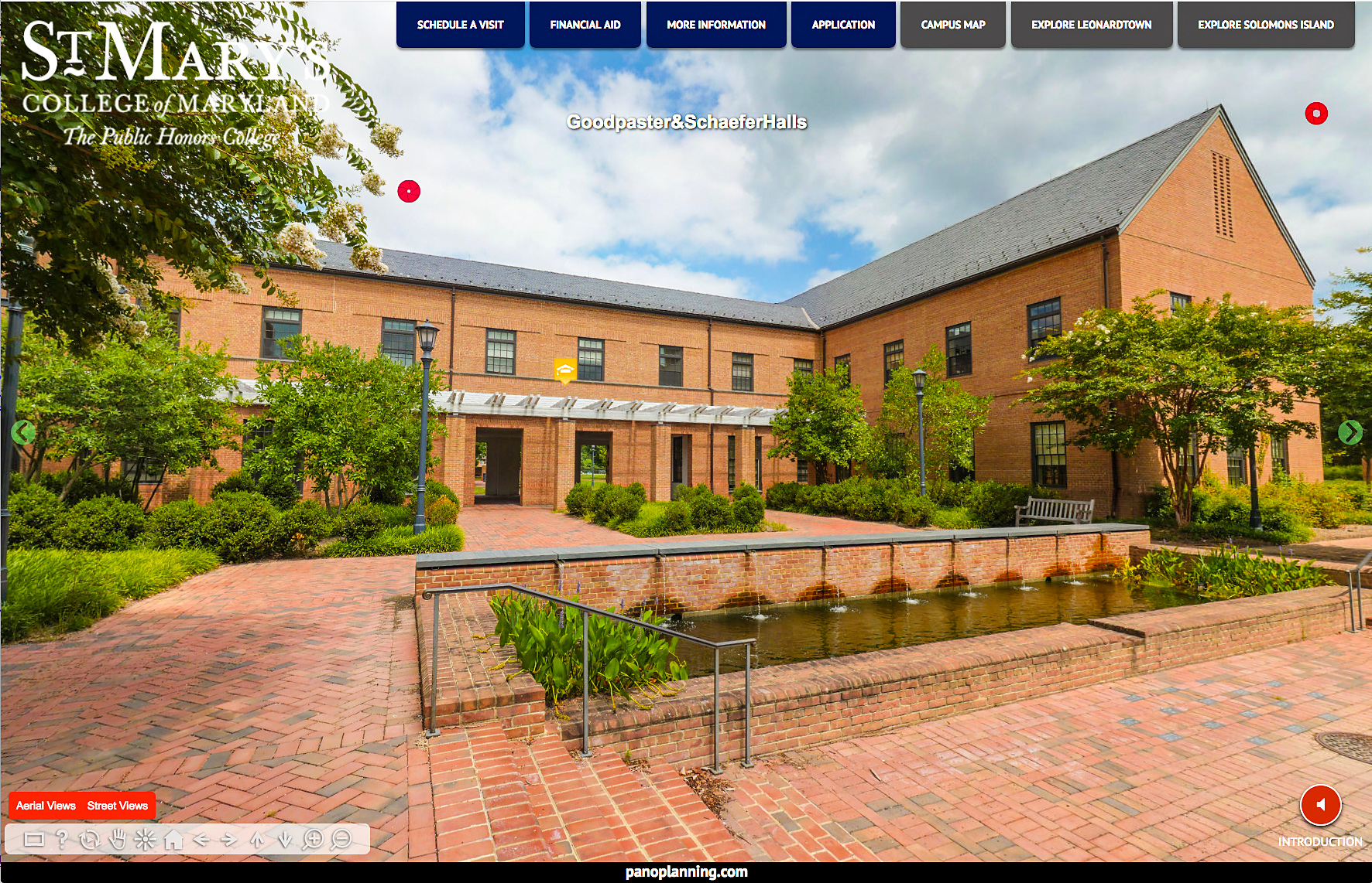 Ground level panorama from Virtual Discovery Tour of St. Mary's College.