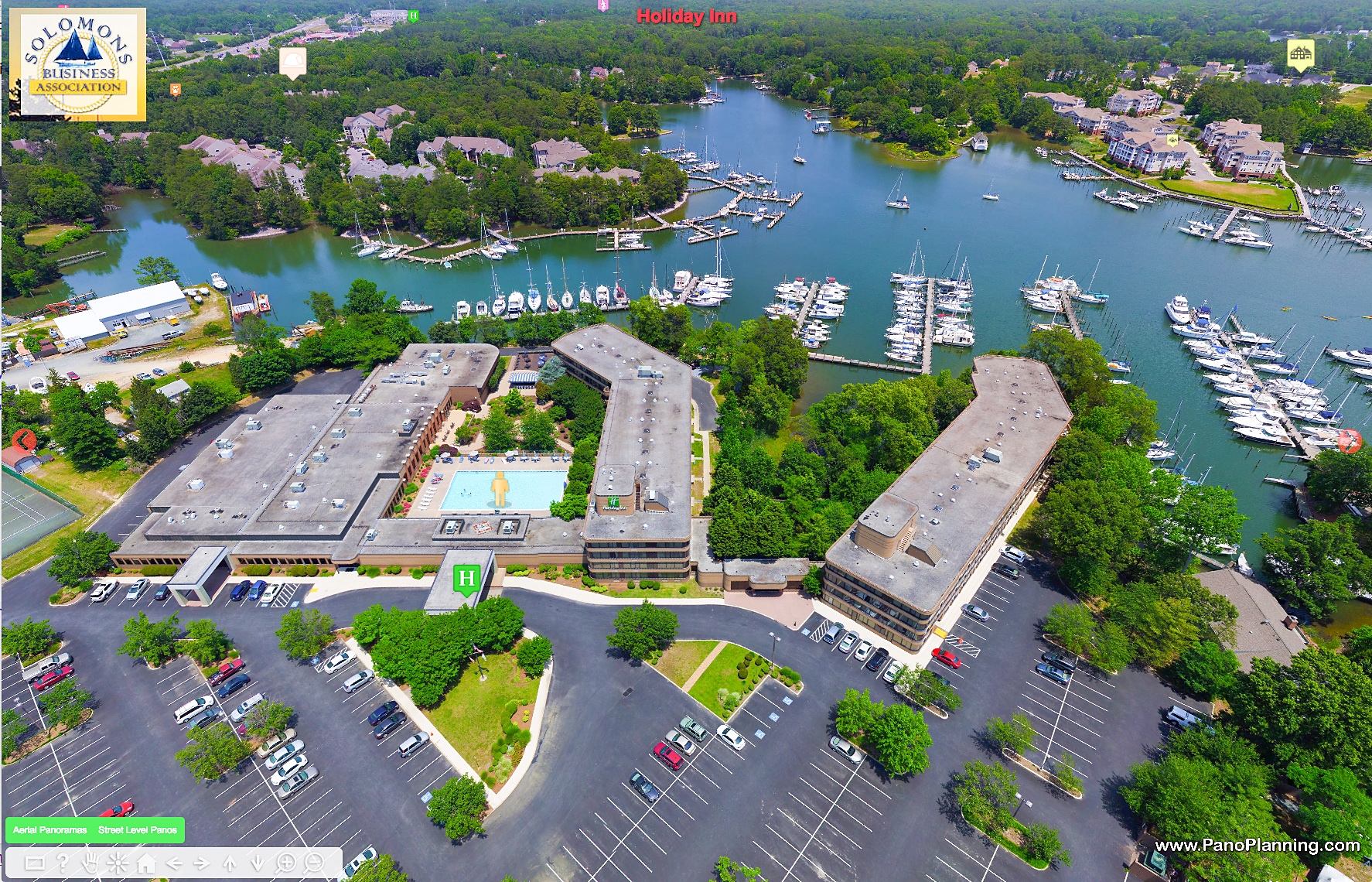 Aerial View of Holiday Inn, Solomons, MD.