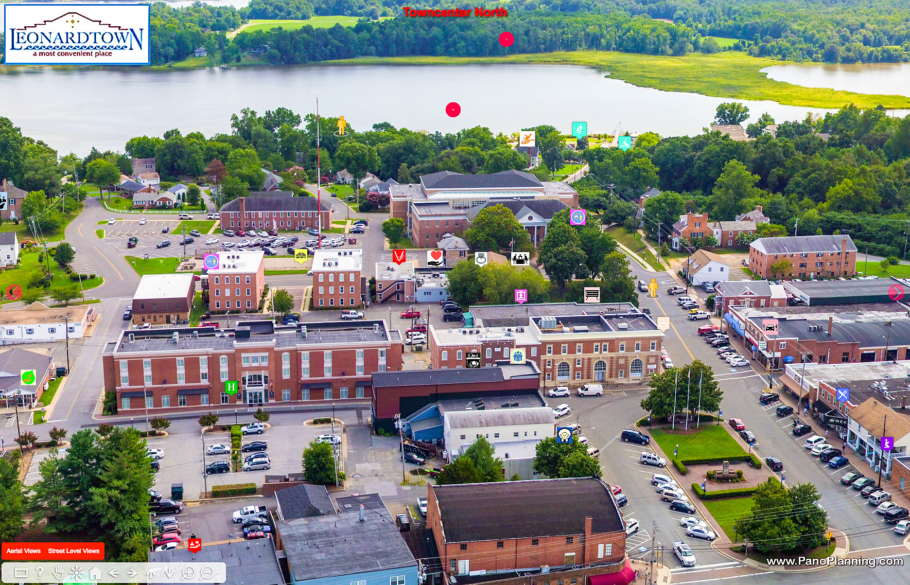 Aerial view of Towncenter of Leonardtown, MD.