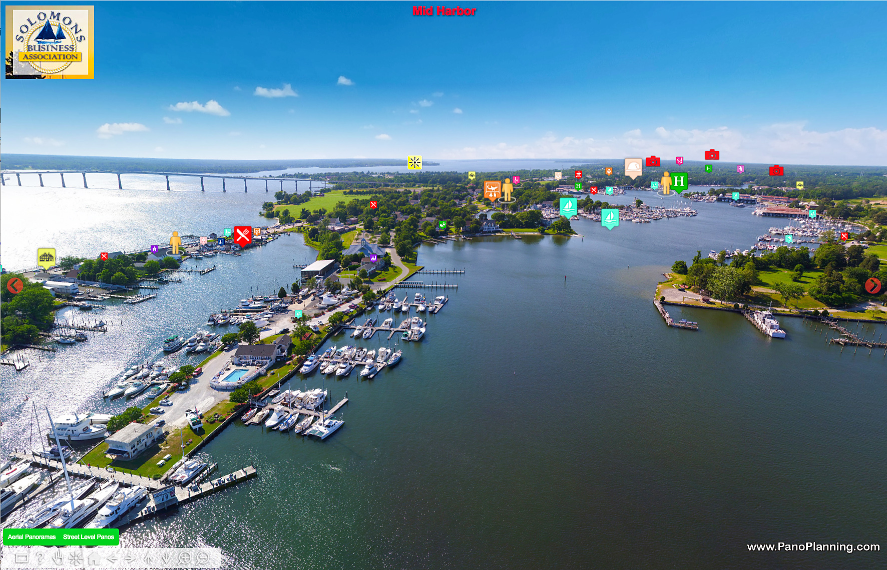 Aerial View Solomons Island Virtual Discovery Tour by PanoPlanning.