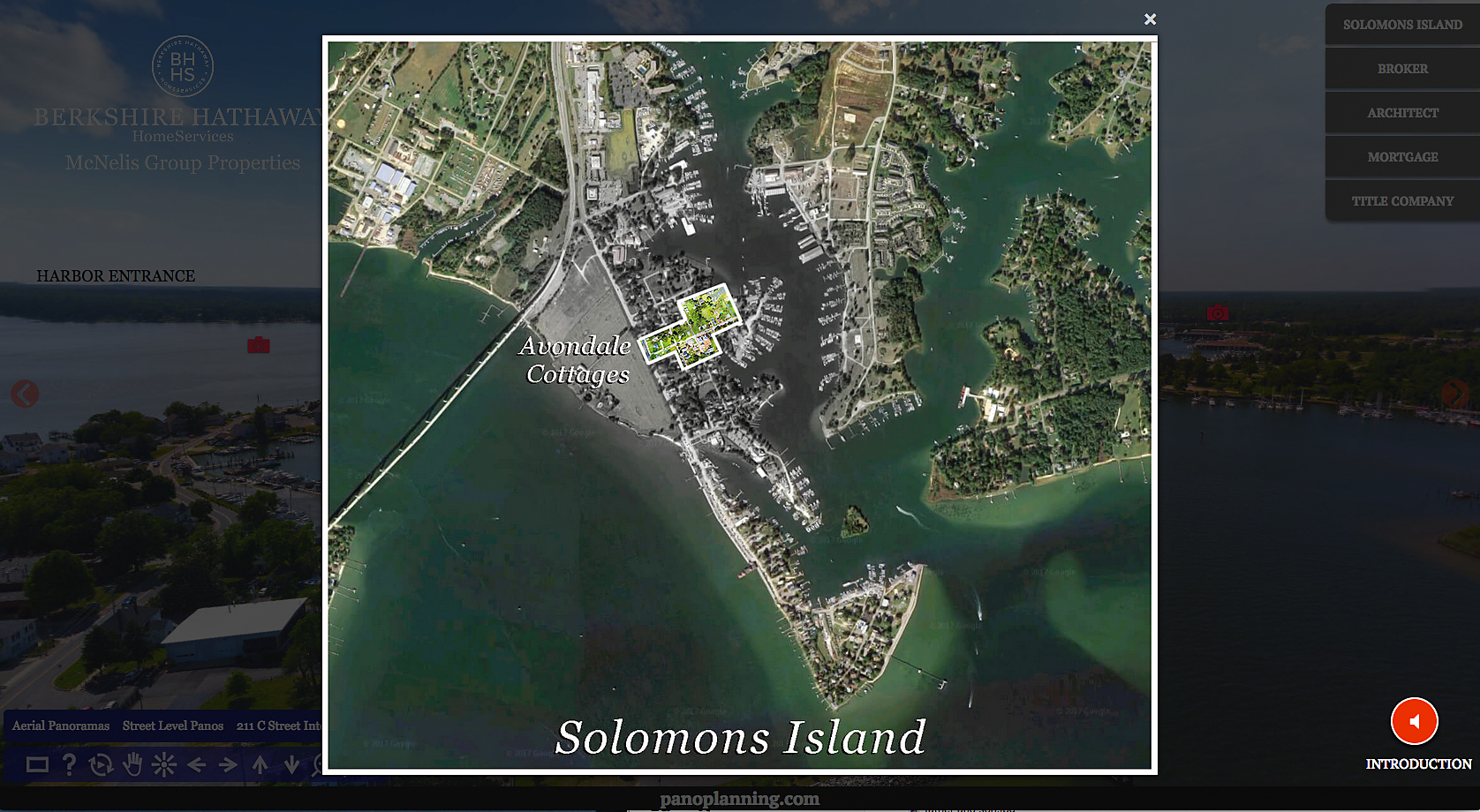 Orientation Map of Solomons Island and Avondale Cottages development.