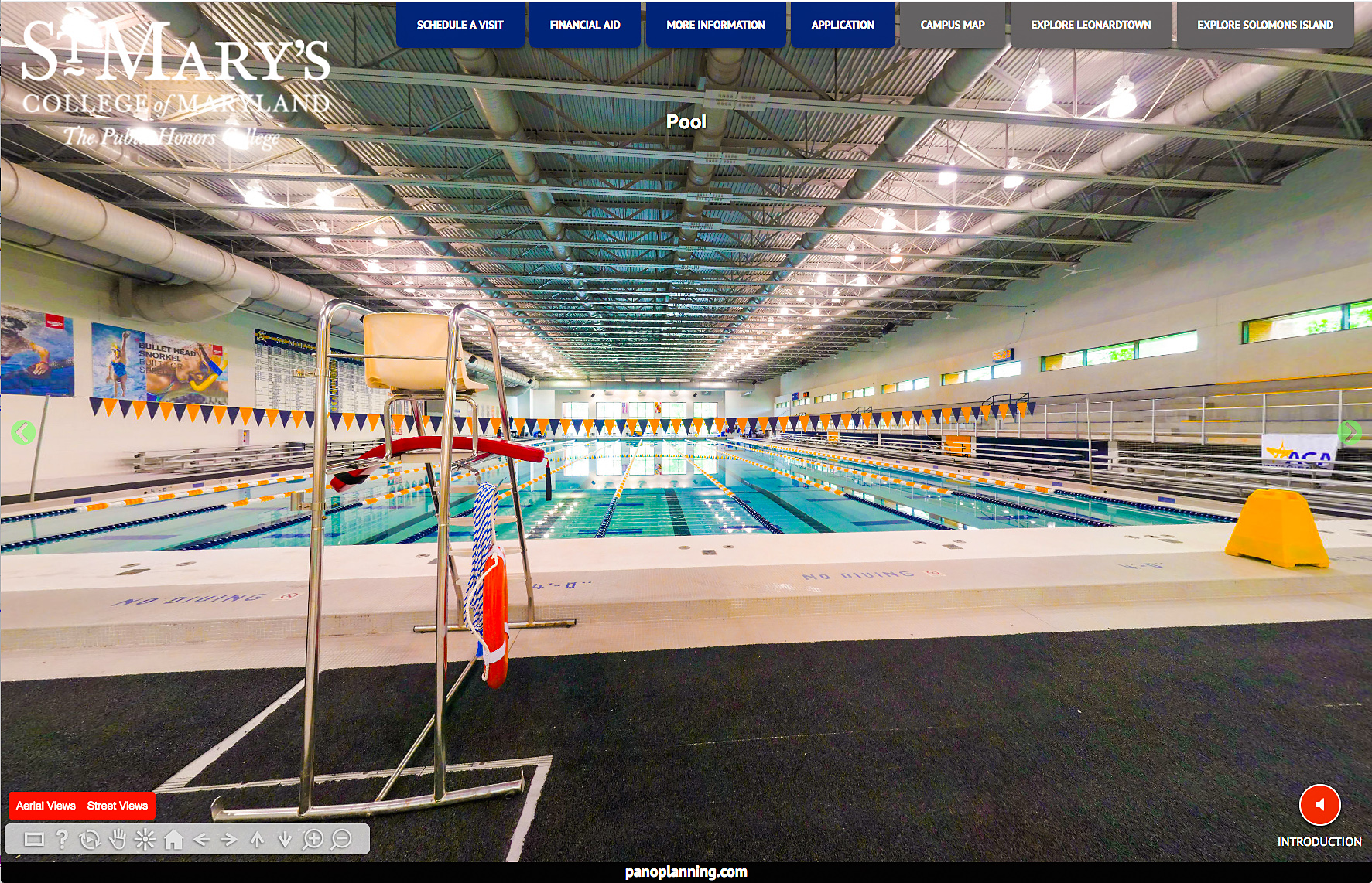 Interior panorama of olympic pool at St. Mary's College.