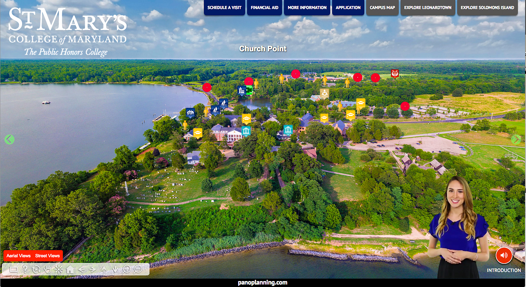 Virtual Discovery Tool landing page for St. Mary's College